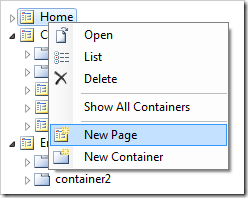 'New Page' option in Code On Time Project Explorer.