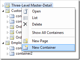 'New Container' option for 'Three-Level Master-Detail' page in Project Explorer.