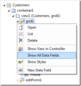 Show all data fields for grid1 view of Customers controller.