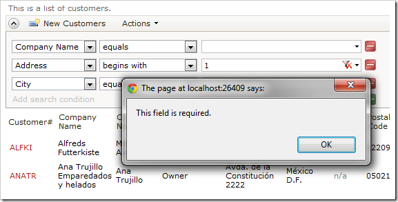 Search performed without entering a parameter into the required field will give a prompt to the end user.