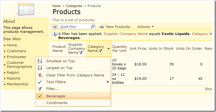 Category Name filtering options have been adaptively filtered to only show options relevant to the current data set.