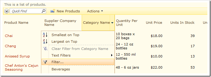 Filter option on the dropdown of 'Category Name' header.