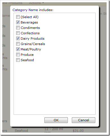 Category Name multi filter selection with several options checked.