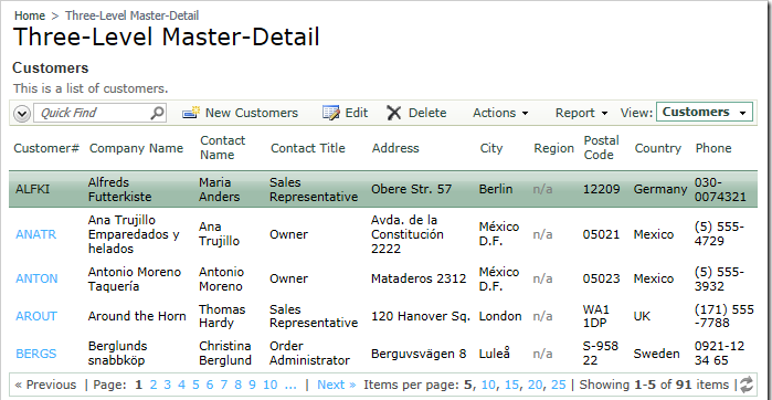 Three-Level Master-Detail page in Northwind web application.