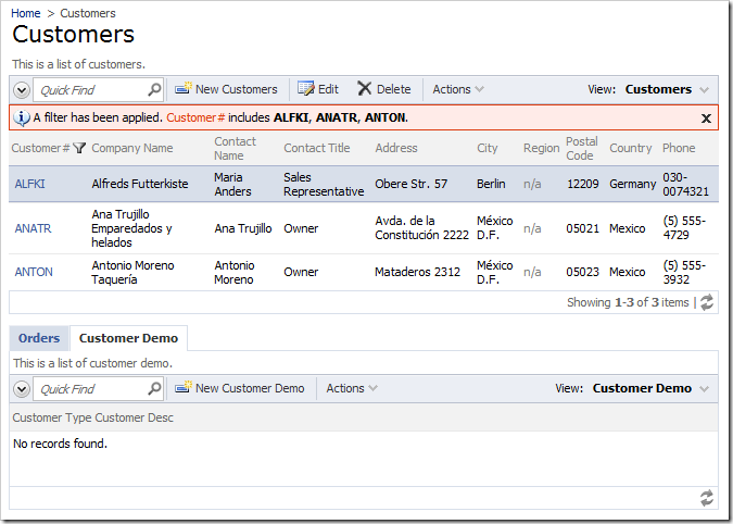 When switched to the Customer Demo tab, Orders and Order Details data views are hidden.