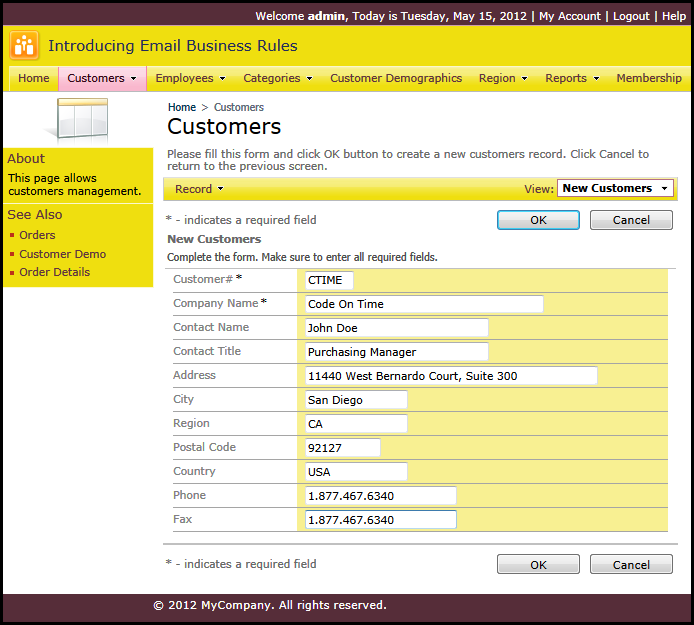 Adding a new customer in the Northwind sample created with Code On Time web application generator
