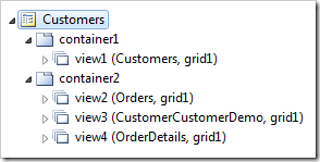 Customers page with a Classic layout in Code On Time Project Explorer.