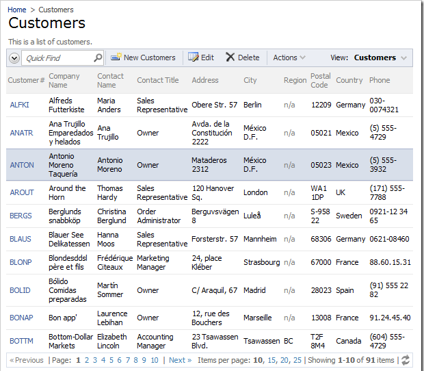 Customers page with 3 child data views each in a tab underneath the master data view with Classic layout.