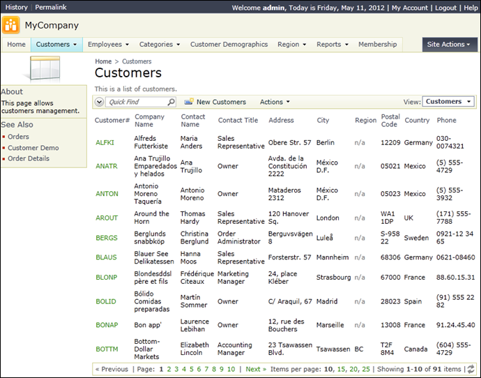 Customers page with single data view in a Simple layout.