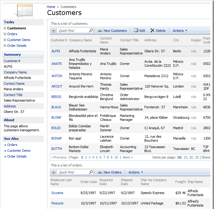 Customers page with Stacked layout with all data views displayed on the page at the same time.