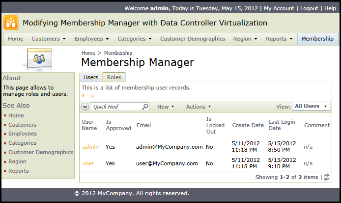 Standard Membership Manager in a web app created with Code On Time application generator