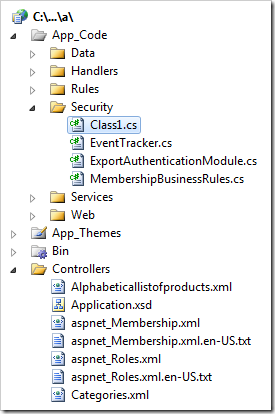 The extension class file for MembershipBusinessRules class displayed in Solution Explorer of Visual Studio