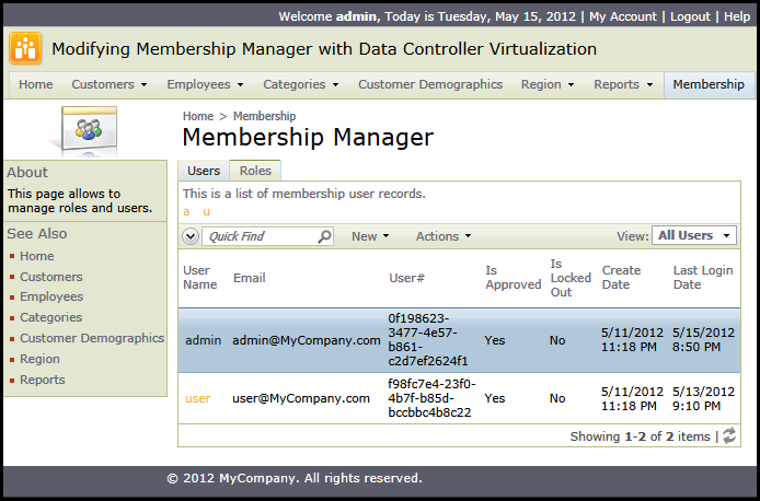 Virtualized data controller aspnet_Membership in action