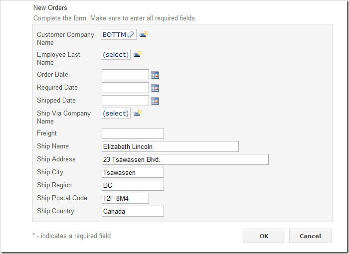 Orders create form with a selected customer. The shipping information is copied from the Customer.
