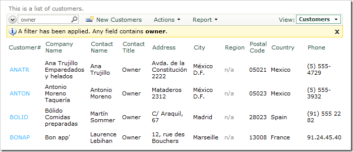 Search results for 'owner' in Customers grid view
