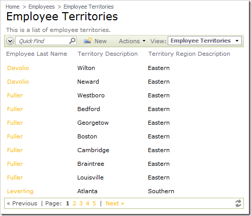 Employee Territories data view without the Page Size controls.