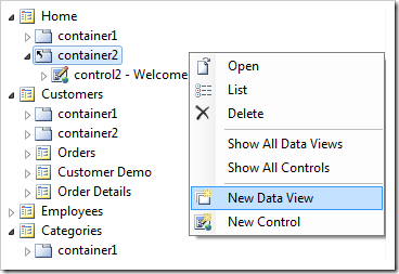 Add a Data View to container2 of Home page.