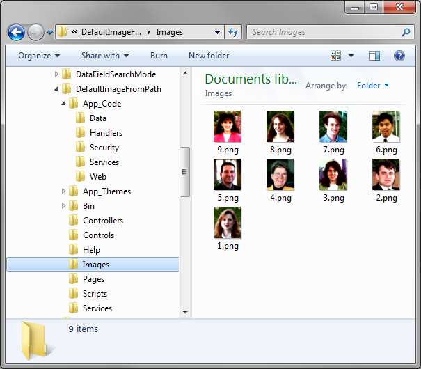 Images folder containing images of all employees with file name matching the EmployeeID.