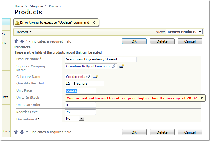 Validating SQL business rule detects a violation in a form view