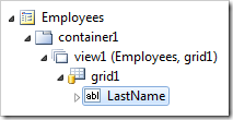 LastName data field of grid1 of Employees on the Employees page.