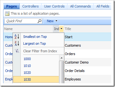 Filter and sort operations available in all data views.