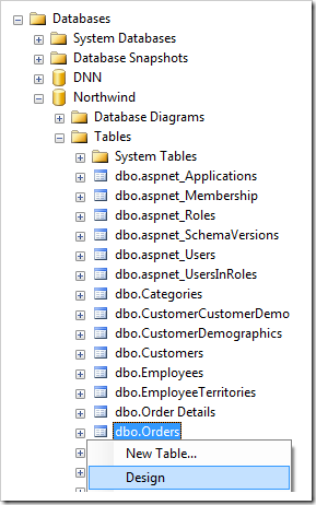 Design the Orders table in the Northwind database.