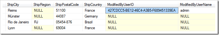 ModifiedByUserID and ModifiedByUserName columns have been populated by the business rule.