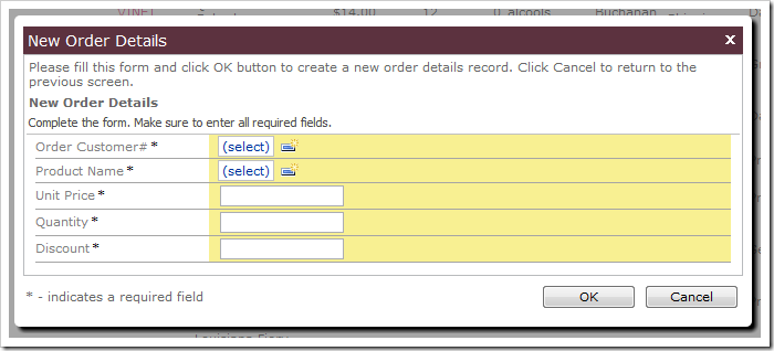 Order Details create form in Code On Time web application.