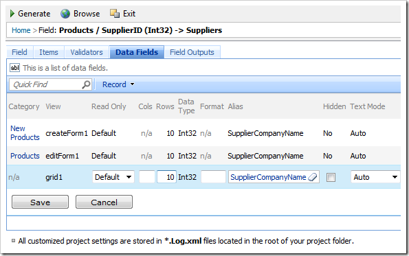 Change all SupplierID data fields 'Row' property to '10'.