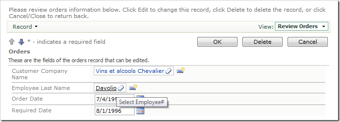Employee Last Name Lookup field rendered as a link within a textbox.