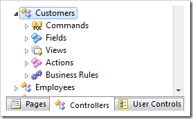 Customers controller in the Project Explorer hierarchy.