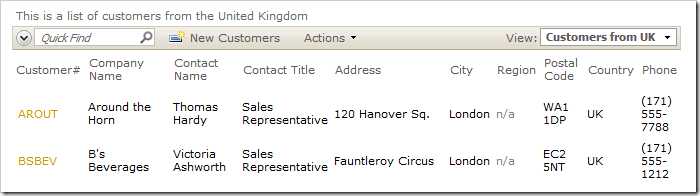Customers from UK also inherits the base view's data field configuration, but with different filtering.