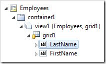 LastName data field on 'view1' of Employees controller.