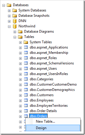 Design the Orders table in the Northwind database using SQL Server Management Studio.