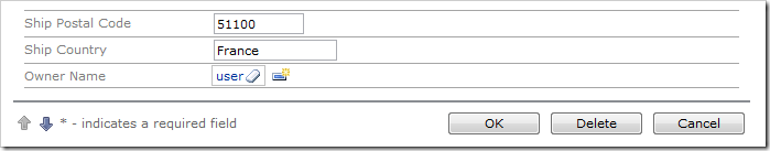 Selecting a user from the lookup will insert the User Name into the field.