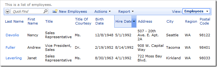 Hire Date is visible on the Employees grid view by default.