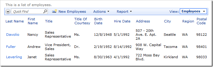 When logged in as admin, the Hire Date column will be visible.