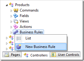 Create New Business Rule for Products controller.