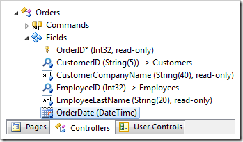 OrderDate field on the Orders controller.