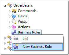 New Business Rule for OrderDetails controller in Project Explorer.