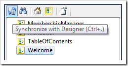 Synchronize button on the Project Explorer toolbar.