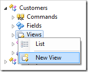 Create New View in Customers controller in Code On Time Project Explorer.