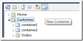 New Container icon on the Project Explorer toolbar.
