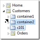 Container 'c101' dragged before container2.