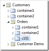 Container 'c101' placed at the end of Orders page.