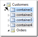 Multiple selection dragged before container1.