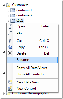 Context Menu 'Rename' option for container 'c101'.