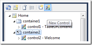 New Control icon on the Project Explorer toolbar.