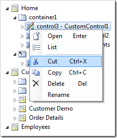 Cut context menu option on control3.