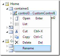 Rename option on control3 context menu.